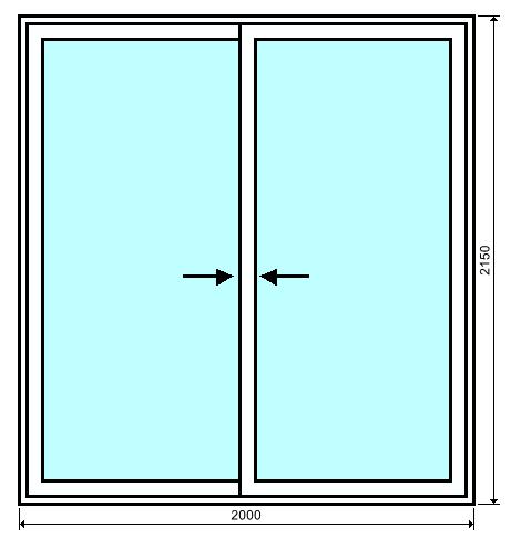 baie vitr e 2 vantaux en aluminium sur mesure au meilleur prix bezin. Black Bedroom Furniture Sets. Home Design Ideas