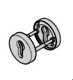 Rosette ronde pour l'intérieur et l'extérieur, avec réservation pour cylindre profilé