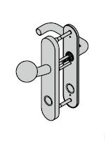 Ferrure ES 1, bouton / béquille, avec réservation pour cylindre rond, 8 mm