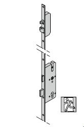 Verrouillage multipoints antipanique (pêne à crochet), avec fonction à bouton fixe E, 9 mm
