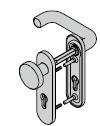 Garniture coupe-feu à bouton fixe type D110 antipanique selon la norme EN 179, avec plaque courte et réservation pour cylindre profilé, 9 mm