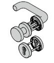 Garniture coupe-feu à bouton fixe type D110 antipanique selon la norme EN 179, avec rosette et réservation pour cylindreprofilé,tr9mm