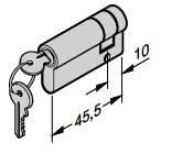 Demi-cylindre profilé N 80 / Porte à portillon incorporé Avec 2 clés Selon la norme DIN 18252 / 18254 35,5 + 10 mm