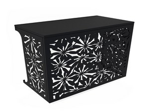 Cache climatisation & pompe à chaleur - Fleurs coloris Noir
