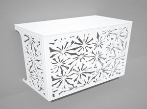 Cache climatisation & pompe à chaleur - Fleurs coloris Blanc