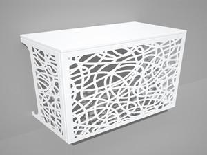 Cache climatisation & pompe à chaleur - Lacets coloris Blanc