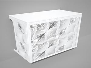 Cache climatisation & pompe à chaleur - Ondes coloris Blanc