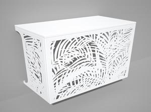Cache climatisation & pompe à chaleur - Palmiers coloris Blanc