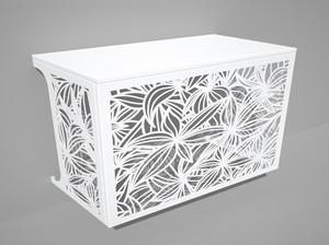 Cache climatisation & pompe à chaleur - Végétal coloris Blanc