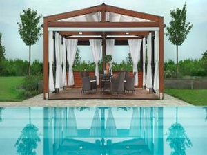tonnelle bois toile r tractable bezin. Black Bedroom Furniture Sets. Home Design Ideas