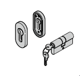Rosette ovale pour l'intérieur et l'extérieur, pour serrure à pêne dormant à crochet, avec verrou supplémentaire, cylindre profilé inclus