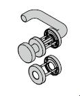 Garniture à bouton fixe, avec rosette et réservation pour cylindre rond, 9 mm
