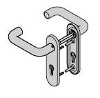 Béquillage coupe-feu type D110, avec plaque courte et réservation pour cylindre profilé / clé à gorge, 9 mm