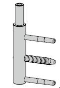 Paumelle mâle à rouleaux 180 mm pour Thermo65