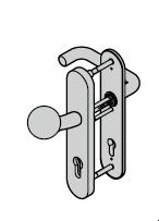 Ferrure ES 1, bouton / béquille, avec réservation pour cylindre profilé, 8 mm