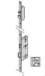 Verrouillage multipoints antipanique (pêne à crochet), avec fouillot divisé pour fonction de passage D, 9 mm pour cylindre profilée