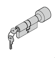Cylindre à bouton pour barre avec rosette ovale (porte ouvrant vers l'intérieur) 35,5 (bouton) + 27,5 mm