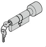 Cylindre à bouton pour barre avec rosette ovale 40,5 (bouton) + 40,5 mm