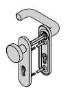 Garniture à bouton fixe, avec plaque courte, 8 mm, avec réservation pour clé à gorge, Acier inoxydable