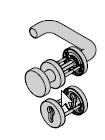 Garniture à bouton fixe avec rosette, 8 mm, avec réservation pour clé à gorge, Acier inoxydable