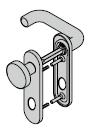 Garniture à bouton fixe, avec plaque courte, 8 mm