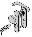 Paquet d'accessoires KSI (garniture à bouton fixe, avec plaque courte, 8 mm + cylindre profilé)