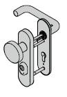 Garniture de sécurité coupe-feu à bouton fixe ES 1, avec plaque courte, 9 mm, avec réservation pour cylindre profilé