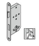 Serrure antipanique pour barre DIN EN 1125, avec fouillot divisé (fonction de passage D) et réservation pour cylindre profilé, 9 mm