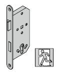 Serrure antipanique pour barre DIN EN 1125, avec fouillot continu (fonction à bouton fixe E) et réservation pour cylindre profilé, 9 mm