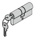 Cylindre profilé 40,5 + 27,5 mm avec protection contre le perçage (des deux côtés), avec carte de sécurité et fonction de course libre pour fonction confort