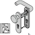 Garniture antipanique à bouton fixe, avec plaque courte, 9 mm, avec réservation pour cylindre profilé, Noir