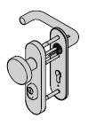 Garniture de sécurité à bouton fixe ES 1, avec plaque courte, 8 mm, avec réservation pour cylindre profilé