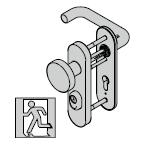Garniture de sécurité à bouton fixe ES 1, avec plaque courte, fonction confort, 9 mm, avec réservation pour cylindre