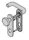 Garniture de sécurité à bouton fixe, avec plaque courte (sans protection contre l'arrachement), 8 mm, avec réservation pour cylindre rond