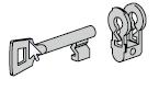 Noyau pour serrure à clé à gorge avec 1 clé