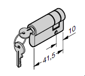 Demi-cylindre profilé 31,5 + 10 mm : N 80 / EcoStar / Porte à portillon incorporé