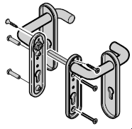 Béquillage Portillon indépendant / incorporé, exécution pour cylindre profilé