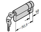 Demi-cylindre profilé 40,5 + 10 mm : N 80 / Porte à portillon incorporé