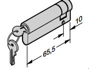 Demi-cylindre profilé N 80 / Porte à portillon incorporé Avec 2 clés Selon la norme DIN 18252 / 18254 55,5 + 10 mm