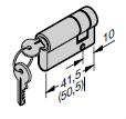 Set de cylindres profilés (1 × 31,5 + 10 mm et 1 × 31,5 + 40,5 mm) pour porte à portillon incorporé, s'entrouvrant (à clé identique)