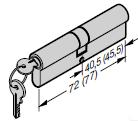 Set de cylindres profilés (1 × 40,5 + 10 mm et 1 × 31,5 + 45,5 mm) pour porte à portillon incorporé, s'entrouvrant (à clé identique)
