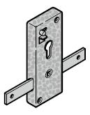 Serrure à cylindre profilé, TS 42 mm (uniquement pour garniture à poignée extérieure en fer forgé)