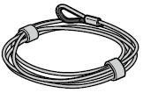 Câbles de traction renforcés Ø 2,9 mm complets, ferrure H avec cosse par porte