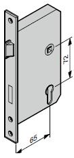 Serrure encastrée à profilé tubulaire 1306 ZyGW (65 / 72 / 9)