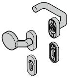 Garniture à bouton fixe (92) coudée / coudée, synthétique noire