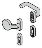 Garniture à bouton fixe (92) coudée / coudée