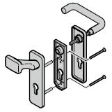 Garniture à bouton fixe et béquille arrondie (72), fonte d'aluminium