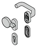 Garniture à bouton fixe (92) coudée / plate, synthétique noire (portillon incorporé)