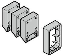 3 cales pour verrouillage de supports roulettes et 1 cadre en applique 42 / 20 mm