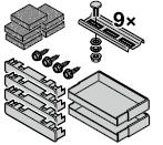 Set : accessoires de fixation pour cadre d'habillage de 95 mm